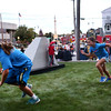 HADLEY GREEN/Staff photo<br /> Kids play tag on the grass outside City Hall during  Peabody's block party.<br /> 09/08/17
