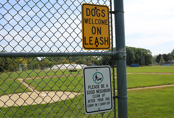 """HADLEY GREEN/Staff photo<br /> A sign reads """"Dogs Allowed On Leash"""" at the Plains park on Conant Street in Danvers.<br /> 09/26/17"""