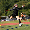 HADLEY GREEN/Staff photo<br /> Salem goalie Ella Galante-Barrett kicks the ball at the Beverly v. Salem girls varsity soccer game held at Beverly High School.<br /> 09/07/17