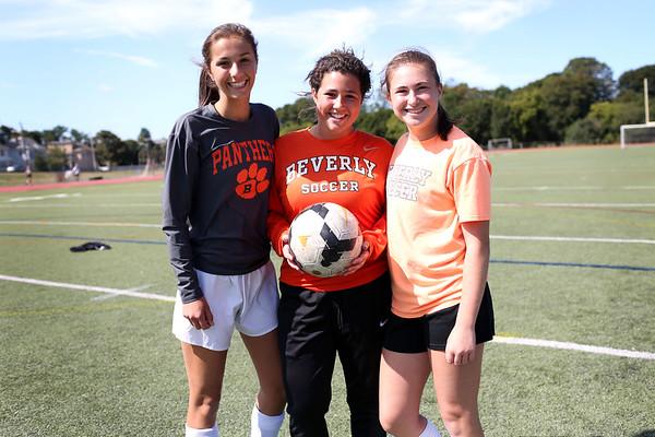 HADLEY GREEN/Staff photo<br /> Beverly girls soccer returning players Jordan Butters, goalie Julia Pitman, and Anna Edson. <br /> <br /> 08/31/17
