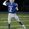 HADLEY GREEN/Staff photo<br /> Danvers' Justin Mullaney (2) throws the ball at the Danvers v. Malden boys varsity football game at Danvers High School.<br /> 09/30/17