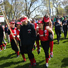 HADLEY GREEN/ Staff photo<br /> Tristin Davos carries Lily Brown onto the Stephen M. O'Grady field during the Salem Little League parade on Sunday, April 30th, 2017. Both are players on the Tornados senior league softball team.