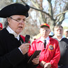 HADLEY GREEN/ Staff photo<br /> Reverend Bert White, chaplain of the Danvers Alarm List Company, speaks at the annual wreath-laying ceremony honoring the fallen soldiers of South Danvers at the Battle of Lexington at the Lexington Monument in Peabody on Monday, April 17th, 2017.