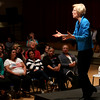 HADLEY GREEN/ Staff photo<br /> Senator Elizabeth Warren responds to an audience member's question during her town hall event at Salem High School on Thursday, April 13th, 2017.