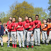 HADLEY GREEN/ Staff photo<br /> Players from Reds and Oriels major league teams recite the pledge of allegiance during the Salem Little League parade and opening day celebration at the Stephen O'Grady Field on Sunday, April 30th, 2017.