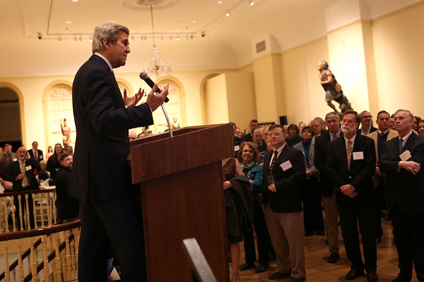 HADLEY GREEN/ Staff photo<br /> Former secretary of state John Kerry addresses the crowd and reflects on the importance of community groups like Essex Heritage at the Essex National Heritage Area 20th anniversary gala held at the Peabody Essex Museum in Salem on Wednesday, April 5th, 2017.