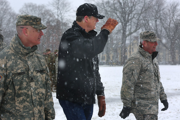 HADLEY GREEN/ Staff photo<br /> Massachusetts Governor Charlie Baker salutes to each National Guard unit standing on the Salem Common as part of the commemoration ceremony of the Salem First Muster on April 1st, 2017.  This year marks the 380th anniversary of the First Muster of the National Guard in Salem.
