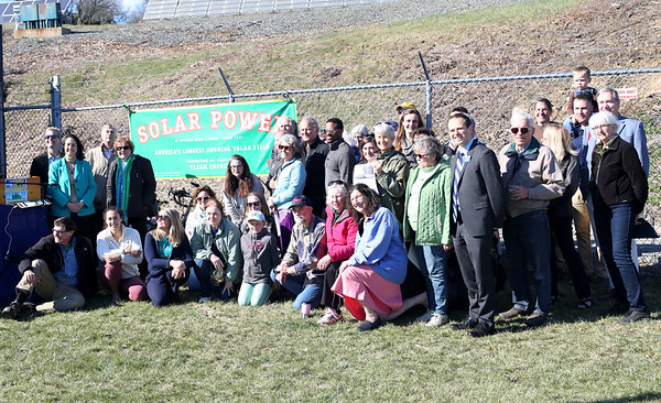 HADLEY GREEN/ Staff photo<br /> State and local environment groups gathered at Greenergy Park Solar Field next to Beverly High School to discuss new clean energy initiatives on Friday, April 14th, 2017.