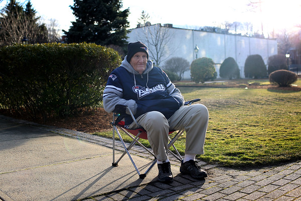HADLEY GREEN/ Staff photo<br /> Bob Fabri sits at the second annual Lost Lives Matter vigil for people who have died from opioid overdoses held at the Leather City Common in Peabody on Saturday, April 8th, 2017. Fabri lost his grandson, Daniel Amor, to an opioid overdose in 2015.