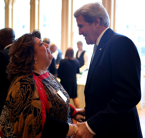 HADLEY GREEN/ Staff photo<br /> Gloucester Mayor Sefatia Romeo Theken greets former secretary of state John Kerry at the Essex National Heritage Area 20th anniversary gala held at the Peabody Essex Museum in Salem on Wednesday, April 5th, 2017