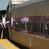 People board a Boston bound train