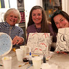 HADLEY GREEN/ Staff photo<br /> From left to right, Julie Livingston, Susan Schrader and Stephanie Verdun, all of Marblehead, attended Paint and Sip Pottery Night with Patti DiCarlo Baker & Hestia Studios on April 14th, 2017.