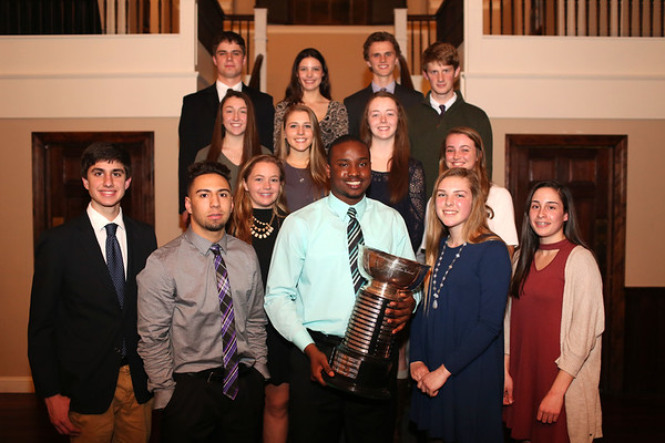HADLEY GREEN/ Staff photo<br /> The nominees for the Salem News Student Athlete Award surround the winner, Hugh Calice, at an award dinner at Rockafellas in Salem on Thursday, April 6th, 2017.