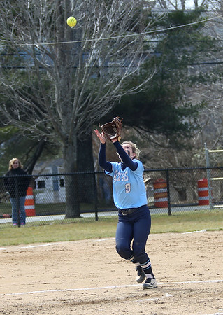 HADLEY GREEN/ Staff photo<br /> Gordon's Megan Jenkerson (9) prepares to catch a pop fly near third base during the Gordon College v. Eastern Nazarene College girls varsity softball game at Gordon College on Saturday, April 8th, 2017.