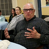 HADLEY GREEN/Staff photo<br /> Resident Chris Burke speaks at a neighborhood meeting organized by Ward 3 Salem City Councilor Lisa Peterson. <br /> <br /> 04/26/18
