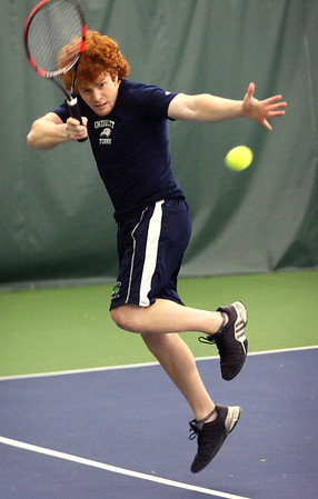 HADLEY GREEN/Staff photo<br /> Endicott's Charles Book hits the ball at the Endicott College v. Gordon College boys tennis match.<br /> <br /> 04/06/18