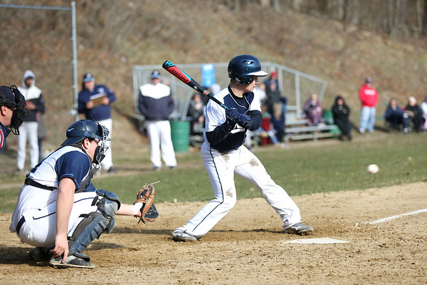 HADLEY GREEN/Staff photo<br /> Danvers' Grady Chan (1) goes up to bat at the Peabody v. Danvers baseball game.<br /> <br /> 04/11/18