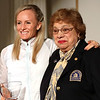 HADLEY GREEN/Staff photo<br /> Marblehead native Shalane Flanagan stands with Gloria Ratti, BAA vice president, at the 122nd Boston Marathon awards ceremony.  <br /> <br /> 04/16/18