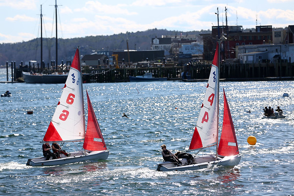 HADLEY GREEN/Staff photo<br /> The Gloucester High School sailing team races against Beverly in the Gloucester Inner Harbor. <br /> <br /> 04/26/18