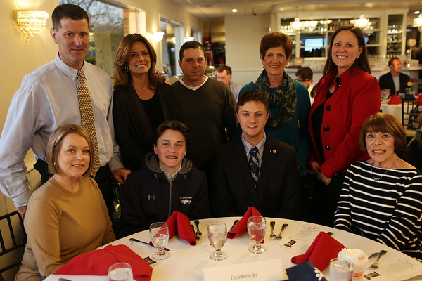 HADLEY GREEN/Staff photo<br /> Andrew Dembowski of St. John's Prep sits with his family at the 2018 Salem News Student Athlete Award banquet.<br /> <br /> 04/05/18