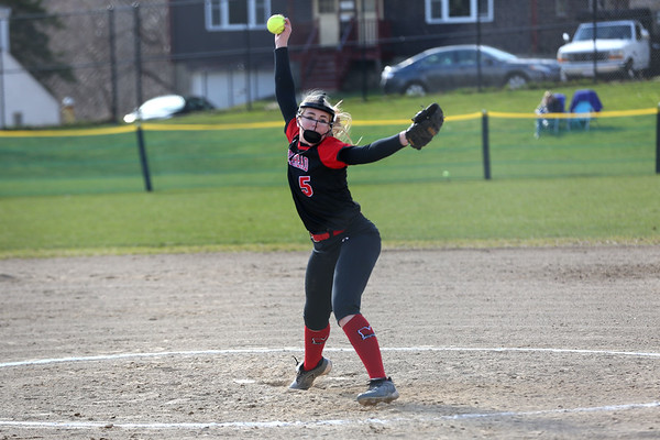 HADLEY GREEN/Staff photo<br /> Marblehead pitcher Charlotte Plakans (5) winds up at the Marblehead v. Essex Tech softball game at Marblehead Veterans Middle School.<br /> <br /> 04/17/18