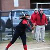 HADLEY GREEN/Staff photo<br /> Third baseman Sammy Treff (33) throws the ball at the Marblehead v. Essex Tech softball game  at Marblehead Veterans Middle School.<br /> <br /> 04/17/18