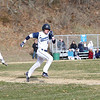 HADLEY GREEN/Staff photo<br /> Peabody's Evan Mullen (6) sprints to first base at the Peabody v. Danvers baseball game.<br /> <br /> 04/11/18