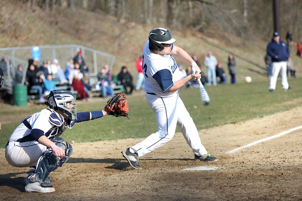 HADLEY GREEN/Staff photo<br /> Peabody's Eric DeMayo (44) hits at the Peabody v. Danvers baseball game.<br /> <br /> 04/11/18
