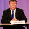 HADLEY GREEN/Staff photo<br /> School Committee candidate David Thompson speaks at a live candidates forum at Danvers Cable Access Television. <br /> <br /> 04/20/18
