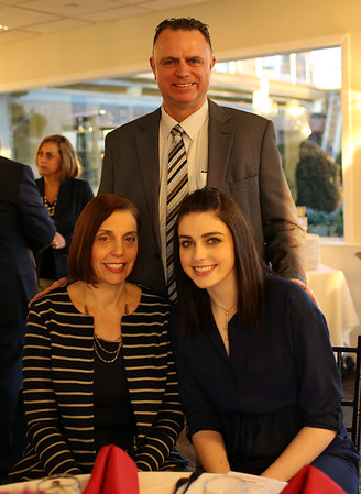 HADLEY GREEN/Staff photo<br /> Jennie Meagher of Bishop Fenwick and her family attend the 2018 Salem News Student Athlete Award banquet.<br /> <br /> 04/05/18