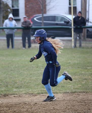 HADLEY GREEN/Staff photo<br /> Peabody's Makayla Iannalfo (3) runs to second base at the Danvers v. Peabody girls softball game.<br /> <br /> 04/10/18
