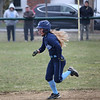 HADLEY GREEN/Staff photo<br /> Peabody's Makayla Iannalfo (3) runs to second base at the Danvers v. Peabody girls softball game.<br /> <br /> 04/10/18