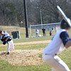 HADLEY GREEN/Staff photo<br /> Danvers' Justin Nadeau (8) pitches at the Peabody v. Danvers baseball game.<br /> <br /> 04/11/18