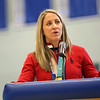 HADLEY GREEN/Staff photo<br /> Meghan Duggan speaks about her journey from playing youth hockey in Danvers to winning gold at the 2018 Winter Olympics as a captain of the U.S. Women's Ice Hockey team. <br /> <br /> 04/07/18