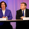 HADLEY GREEN/Staff photo<br /> Danvers School Committee candidates Mary Beth Verry and David Thompson speak at a live candidates forum at Danvers Cable Access Television. <br /> <br /> 04/20/18