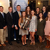 HADLEY GREEN/Staff photo<br /> Salem News Student Athlete Award winner Lydia Runnals, center, stands with the award finalists, back, from left, Nicholas Capra, Edward Mayle, Thomas O'Keefe, David Hunter, Geena Stasiuk, Cameron Dowd, Jennie Meagher, Kellen Waters, Andrew Dembowski, and front, Abbey Otterbein, Deanna Ruggiero and Rebecca Erhard. <br /> <br /> 04/05/18