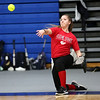 HADLEY GREEN/Staff photo<br /> Mallory LeBlanc throws during a warm-up drill at the Peabody High School girls softball practice.<br /> <br /> 04/04/18
