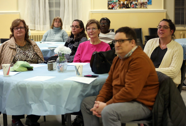 HADLEY GREEN/Staff photo<br /> Local residents attend a neighborhood meeting organized by Ward 3 Salem City Councilor Lisa Peterson. <br /> <br /> 04/26/18
