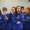 HADLEY GREEN/Staff photo<br /> The Danvers High School a capella group, Falconize, performs at the Meghan Duggan Day celebration.<br /> <br /> 04/07/18