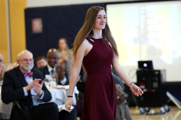 HADLEY GREEN/Staff photo<br /> Sophomore Danalee Williams is the first recipient of the Sean Collier Scholarship. Williams received her honor at Salem State's Criminal Justice Awards Banquet.<br /> <br /> 04/19/18