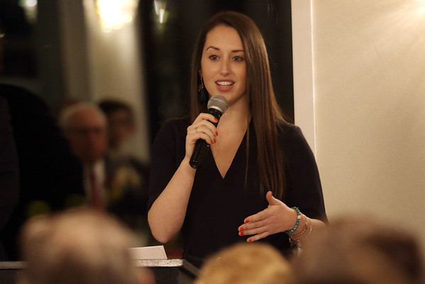 HADLEY GREEN/Staff photo<br /> Lauren Blodgett, former Peabody High School standout athlete and current attorney, speaks at the 2018 Salem News Student Athlete Award banquet. <br /> <br /> 04/05/18