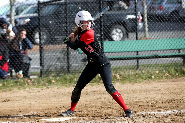 HADLEY GREEN/Staff photo<br /> Marblehead's Mercedes Pelletier (13) goes up to bat at the Marblehead v. Essex Tech softball game  at Marblehead Veterans Middle School.<br /> <br /> 04/17/18