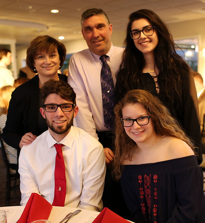 HADLEY GREEN/Staff photo<br /> Nicholas Capra of Salem sits with his family at the 2018 Salem News Student Athlete Award banquet.<br /> <br /> 04/05/18