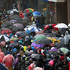 HADLEY GREEN/Staff photo<br /> Crowds and umbrellas lined Boylston Street in Boston at the 122nd Boston Marathon. <br /> <br /> 04/16/18
