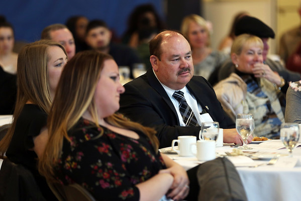 HADLEY GREEN/Staff photo<br /> Sean Collier's stepfather, Joe Rogers, attends Salem State's Criminal Justice Awards Banquet. Sophomore Danalee Williams is the first recipient of the program's Sean Collier Scholarship. <br /> <br /> 04/19/18