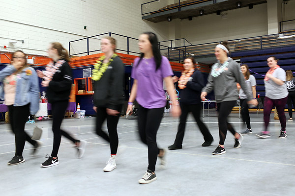 HADLEY GREEN/Staff photo<br /> Students walk around the O'Keefe Center at Salem State University's Relay For Life event. <br /> <br /> 04/20/18