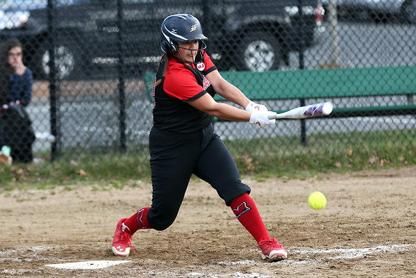HADLEY GREEN/Staff photo<br /> Marblehead's Jolie Quintana (30) hits at the Marblehead v. Essex Tech softball game at Marblehead Veterans Middle School.<br /> <br /> 04/17/18