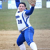 HADLEY GREEN/Staff photo<br /> Danvers' Alexcea Glynos (20) pitches at the Danvers v. Peabody girls softball game.<br /> <br /> 04/10/18