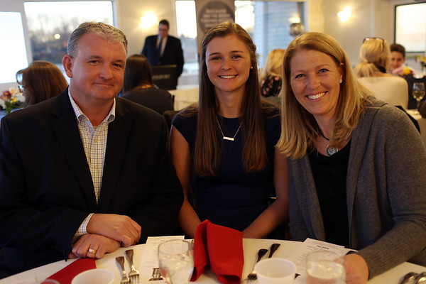 HADLEY GREEN/Staff photo<br /> Cameron Dowd of Pingree attends the 2018 Salem News Student Athlete Award banquet with her family. <br /> <br /> 04/05/18