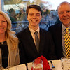 HADLEY GREEN/Staff photo<br /> Kellen Waters of Ipswich attends the 2018 Salem News Student Athlete Award banquet with his family. <br /> <br /> 04/05/18